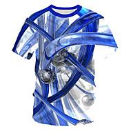 povoljno -Veličina EU / SAD Majica s rukavima Muškarci - Osnovni / Ulični šik Ležerno / za svaki dan Geometrijski oblici / Color block / 3D Okrugli izrez Print Plava / Kratkih rukava