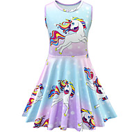 cheap -Kids Toddler Girls' Active Street chic Cartoon Sleeveless Above Knee Dress Blue