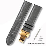 halpa -aitoa nahkaa / Nahka / Vasikankarva Watch Band Hihna varten Harmaa 17cm / 6.69 Tuumaa / 18cm / 7 tuumaa / 19cm / 7.48 tuumaa 1cm / 0.39 tuumaa / 1.2cm / 0.47 tuumaa / 1.3cm / 0.5 tuumaa