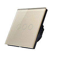 baratos -Interruptor de parede 86 casa inteligente interruptor de toque 3ch interruptor de vidro temperado-ouro