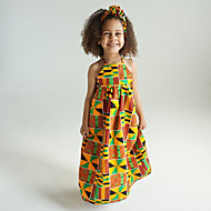 cheap -Kids Girls' Vintage Boho Tribal Sleeveless Knee-length Cotton Polyester Dress Yellow