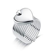 رخيصةأون -نسائي خاتم / خاتم قابل للتعديل 1PC فضي / ذهبي روزي الصلب التيتانيوم دائري أساسي / موضة هدية / مناسب للبس اليومي مجوهرات / قلب