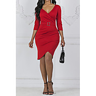 baratos -Mulheres Básico Algodão Tubinho Bainha Vestido Decote V Médio