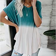 billige -T-skjorte Dame - Fargeblokk, Trykt mønster Grunnleggende Blå US6 / UK10 / EU38