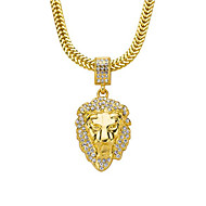 cheap -Men's Pendant Necklace Chain Necklace Long Necklace Classic Lion Punk Rock Zircon Copper Gold Plated Gold 76 cm Necklace Jewelry 1pc For Daily Street