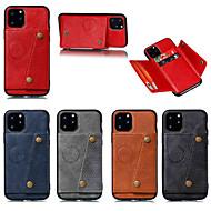 baratos -Capinha para apple iphone 11 / iphone 11 pro / iphone 11 pro max titular do cartão / com suporte capa traseira couro sólido cor botão duplo couro pu para iphone x / xs / xr / xs max / 8 plus / 6s plus