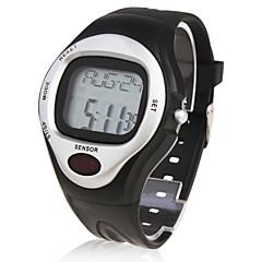 Homme Montre Bracelet Numérique Alarme Calendrier Chronographe Pulsomètre LCD Caoutchouc Bande Noir