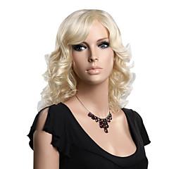 sin tapón sintético de alta calidad longitud media peluca rubia ondulada de la moda