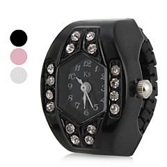 お買い得  レディース腕時計-女性用 クォーツ リングウォッチ 日本産 模造ダイヤモンド バンド 光沢タイプ ブラック / 白 / ピンク