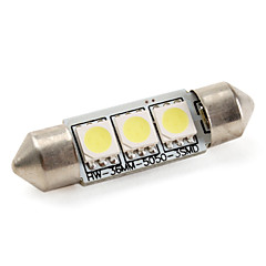 cheap LED Car Bulbs-36mm 1W 3x5050 SMD 60LM White Light LED Bulb for Car Lamps (DC 12V)