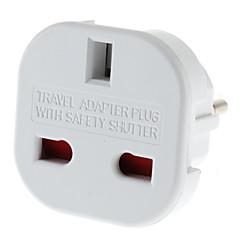 EU Plug til flere Plug Universal Round Travel Adapter med Safety Shutter (110-240V)