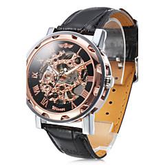 preiswerte Herrenuhren-WINNER Herrn Armbanduhr Mechanische Uhr Automatikaufzug Transparentes Ziffernblatt PU Band Analog Luxus Schwarz - Weiß Schwarz Bronze