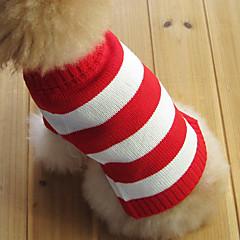 お買い得  猫の服-ネコ 犬 セーター 犬用ウェア 縞柄 レッド コットン コスチューム ペット用 男性用 女性用 ファッション クリスマス