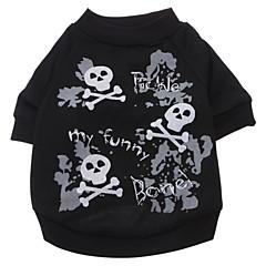 お買い得  犬用ウェア&アクセサリー-犬 Tシャツ 犬用ウェア スカル ブラック コットン コスチューム ペット用 男性用 女性用 ファッション ハロウィーン