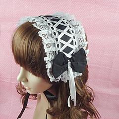 voordelige Lolita-mode-Sieraden Klassiek en Tradtioneel Lolita Hoofddeksels Prinses Dames Zwart Lolita-accessoires Effen Kant Strik Helm Katoen