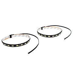 Vedenpitävä 30cm 9W 18x5730SMD valkoinen LED Strip Light Car (12V, 1-Pair)