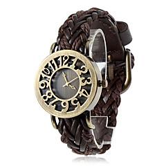 お買い得  大特価腕時計-女性用 クォーツ ブレスレットウォッチ カジュアルウォッチ PU バンド 花型 ヴィンテージ ボヘミアンスタイル ブラック ブルー レッド ブラウン グリーン