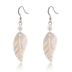 European Style Fashion Natural Pearl With Shell Leaf Pendant Earrings