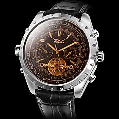 お買い得  メンズ腕時計-男性用 リストウォッチ 自動巻き カレンダー 透かし加工 レザー バンド ハンズ チャーム ブラック - Brown / ステンレス