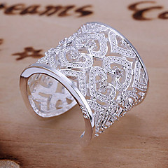 cheap Rings-Women's Cuff Ring Statement Ring Luxury Unique Design Love Bridal Elegant Sterling Silver Rhinestone Heart Costume Jewelry Wedding Party