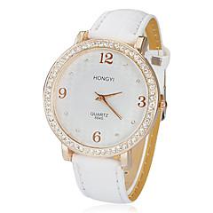 voordelige Bekijk deals-Dames Modieus horloge Japans Kwarts imitatie Diamond PU Band Glitter Wit