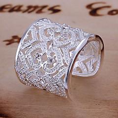 preiswerte Ringe-Damen Statement-Ring / Stulpring - Sterling Silber, Strass Herz, Liebe Luxus, Einzigartiges Design, Elegant Verstellbar Gold / Silber Für Hochzeit / Party / Jahrestag