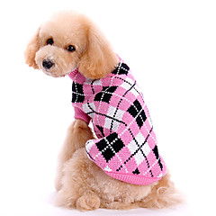 Dog Sweater Dog Clothes Cute Keep Warm Plaid/Check Pink Costume For Pets