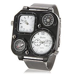 お買い得  大特価腕時計-男性用 軍用腕時計 温度計付き / コンパス / 2タイムゾーン ステンレス バンド シルバー