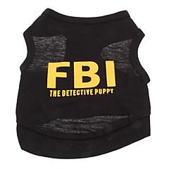 Χαμηλού Κόστους Ρούχα και αξεσουάρ για σκύλους-Σκύλος Φανέλα Ρούχα για σκύλους Αναπνέει Γιορτή Μοντέρνα Γράμμα & Αριθμός Αστυνομία/Στρατός Μαύρο Κίτρινο Μαύρο/Κίτρινο Στολές Για