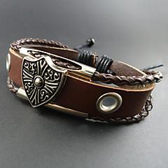 Heren Lederen armbanden Uniek ontwerp Sierstenen Met de hand gemaakt Europees Kostuum juwelen Modieus Leder Legering Sieraden Sieraden