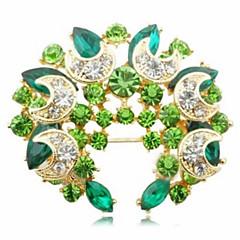 hesapli -Tatlı 5.5cm Kadın'S Altın Alaşım Kristal Broş (Yeşil, Mavi) (1 Adet)