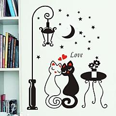 abordables Adhesivos y calcomanías-modelo noche amantes farola gato pvc de papel de pared bricolaje