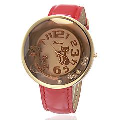 お買い得  レディース腕時計-女性用 ファッションウォッチ リストウォッチ クォーツ ホット販売 バンド ハンズ チャーム ブラック / 白 / レッド - ブラック Brown レッド