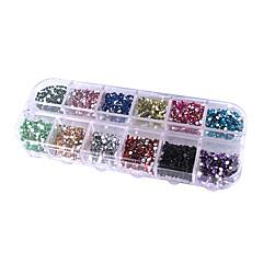 12-väri pyöreä kynsikoristeet kimallus vinkkejä rhinestone koristeet
