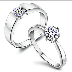 cheap Rings-Men's Women's Couple Rings Copper Rhinestone Silver Plated Platinum Plated Classic Romantic Daily Costume Jewelry