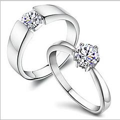 お買い得  指輪-男性用 女性用 カップルリング クラシック ロマンチック 銅 ラインストーン 銀メッキ プラチナメッキ コスチュームジュエリー 日常