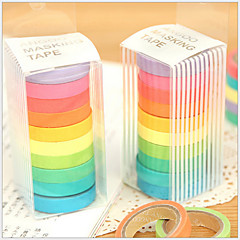 Colorful Rainbow Design Tapes(Set Of 10) For School / Office