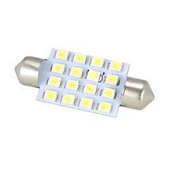 Merdia Festoon 42mm 16 x SMD 3528 LED White Light  for Car Steering Light Bulb / Reading Lamp - (2 PCS)