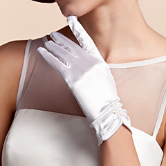 Недорогие Женские украшения-Сатин До запястья Перчатка Свадебные перчатки С Оборки