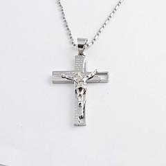 preiswerte Halsketten-Herrn Anhängerketten - Titanstahl, vergoldet Kreuz Modisch Schwarz, Silber, Golden Modische Halsketten Schmuck Für Alltag, Normal