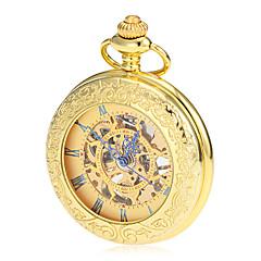 Heren Zakhorloge mechanische horloges Handmatig opwindmechanisme Hol Gegraveerd Legering Band Vintage Luxueus Goud