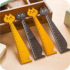 Cat Shape Wooden Ruler (Random Color)