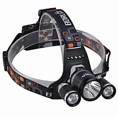 Lanternas de Cabeça LED 3000 Lumens 4.0 Modo Cree XM-L T6 18650.0 Resistente ao Impacto Recarregável Impermeável Campismo / Escursão /