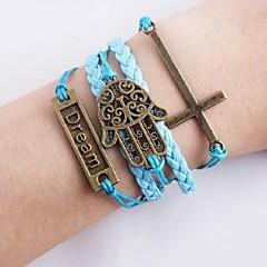 Урожай Мечта Палм Шарм Бесконечность Браслет для ручного вязания Марка Мода Креста Веревка кожаные браслеты