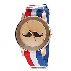 お買い得  大特価腕時計-ユニセックス口ひげ柄国旗スタイルファブリックバンドクォーツ腕時計(アソートカラー)
