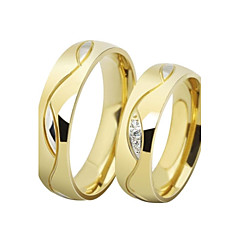 Erkek Kadın's Çift Yüzükleri Evlilik Yüzükleri Kübik Zirconia Aşk lüks mücevher Paslanmaz Çelik Altın Kaplama Simüle Elmas Circle Shape