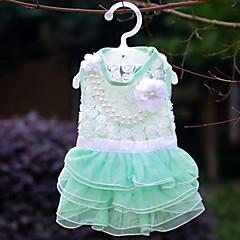Σκυλιά Φορέματα Πράσινο / Ροζ / Τριανταφυλλί Ρούχα για σκύλους Καλοκαίρι Πέρλα Γάμος