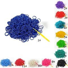 (300 τεμ / πακέτο) καθαρό χρώμα λάστιχο ζώνες αργαλειό στυλ με 12pcs s γάντζο και