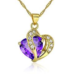 Női Nyaklánc medálok Heart Shape Kocka cirkónia Arannyal bevont Szerelem Szív Ékszerek Kompatibilitás Esküvő Parti Napi