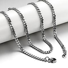 お買い得  ネックレス-男性用 チェーンネックレス  -  チタン鋼 シルバー ネックレス 用途 クリスマスギフト, 結婚式, パーティー